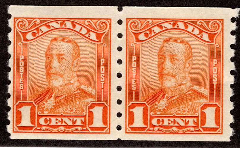"Scott 160, 1c orange, Coil Pair, F, MNHOG, King George V ""Scroll"" Issue, 1929, C"