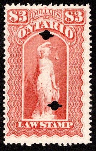 van Dam OL59, Canada, Ontario, used, Law Stamp, $3, 2 punchcancels