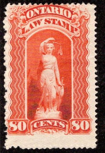 "van Dam OL55, Canada, Ontario, MLHOG, Law Stamp, blue ""C"", 80c,p.12"