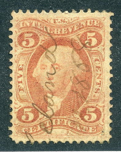 "R24c - 5c - Certificate Revenue- Red - perf - used - ""Leland 1868"" ms cancel"