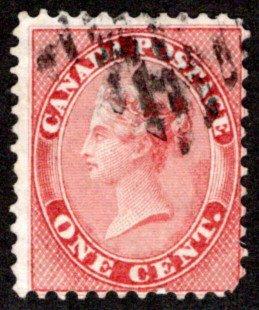 14, Scott, Queen Victoria, 1c, G/VG, Used, Canada Postal Stamp
