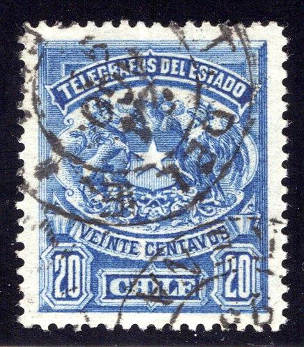 H3, Type I, Chile, 20c, 1883, Telegraph, Telegrafos , perf, Used