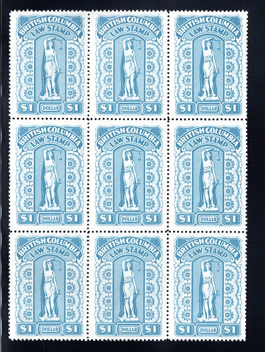 """van Dam BCL43 - $1 blue with """"Spot on Left Ankle"""" variety on LR Stamp - Block"""