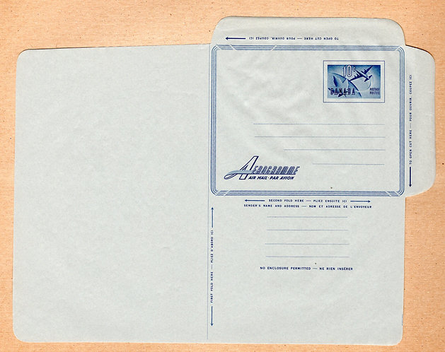 A23 Canada, Aerogramme, 10c blue, unwatermarked, Unused, Unfolded
