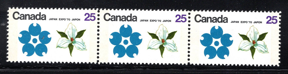 511ii, Scott, 25c, White Trillium, W2B identical strip of 3, MNHOG, Expo '70, Ca