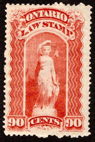 """van Dam OL56, Canada, Ontario, MNHOG, Law Stamp, blue """"C"""", 90c,p.12"""