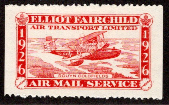 "CL10b, Canada, 25c red, Elliot Fairchild Air Mail Service, variety, ""white dot"""