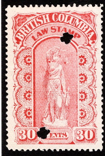 BCL10, $30,orange, used, British Columbia Law Revenue Stamp, 3rd issue