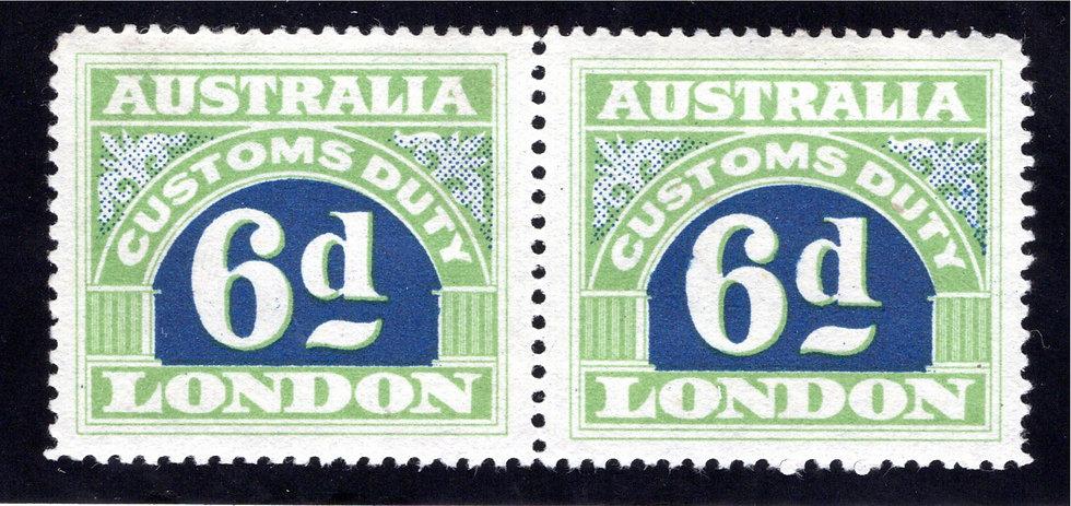 1923 Australia Commonwealth, 6d, Customs Duty, Pair, MNHOG, p. 11.75, Stone I, V