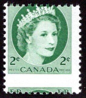 338ii Scott, 2c green, F, Ribbed, MISPERF ERROR, MNHOG, Canada Postage Stamps