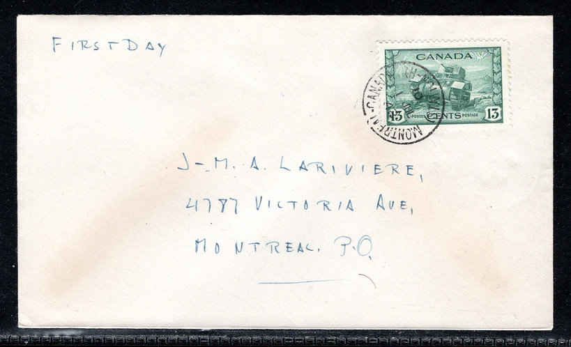258, Scott, Canada, 13c, FDC, Tied by CDS, 1 Jul 42, no cachet