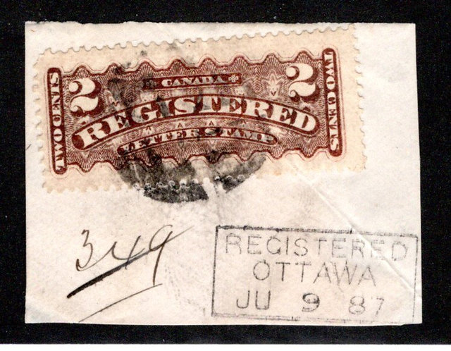 F1, 2c, Registration, Canada, brown (most likely sulferetted), Used, Fancy Cork