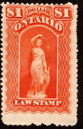 """van Dam OL57, Canada, Ontario, MLHOG, Law Stamp, blue """"C"""", $1,p.11"""