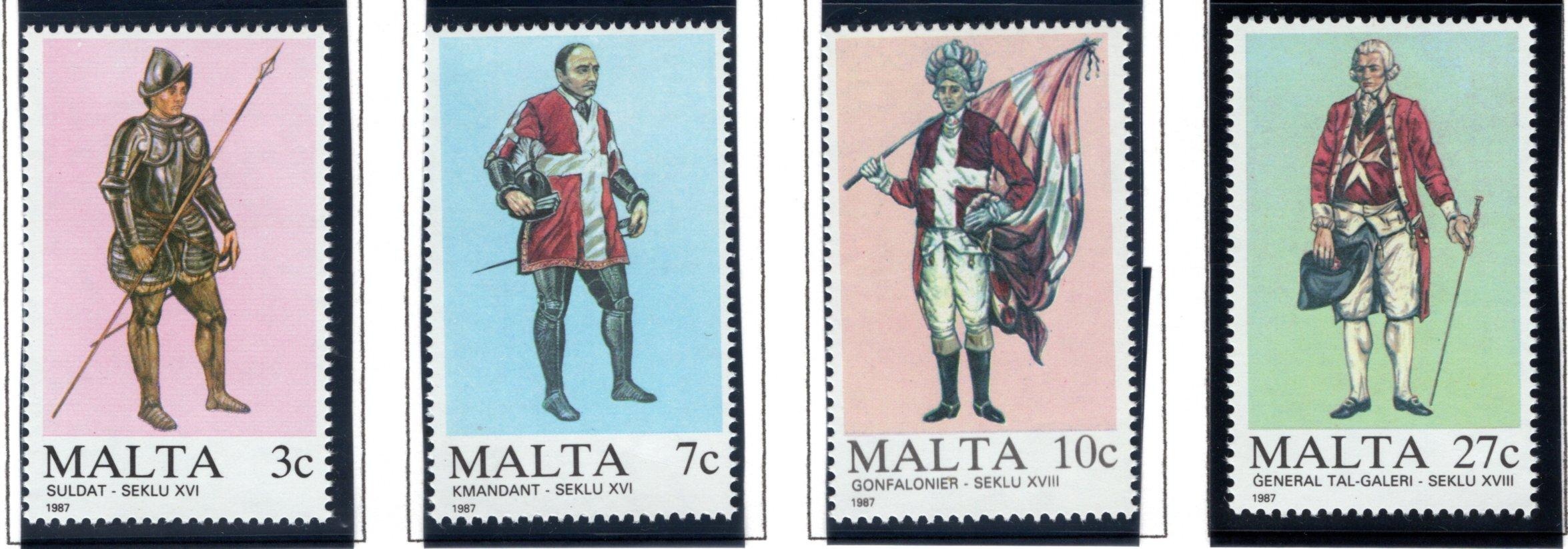 696-699 Malta, Military Uniforms Stamp Set, 1987, MNHOG