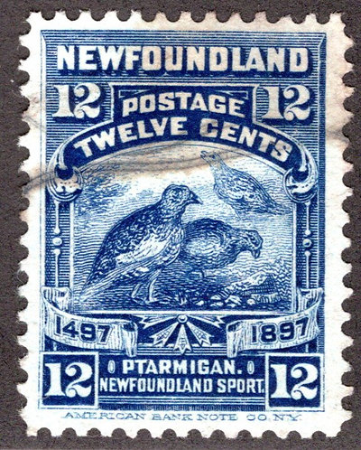 60, NSSC, Newfoundland, 9c blue, willow ptarmigan, VF, Used, Lightly Canceled,