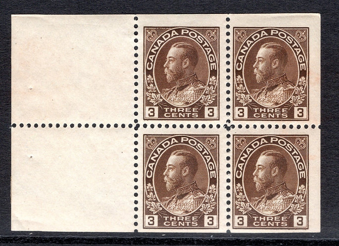 "108a, Scott, booklet pane of 4 x 3c plus 2 labels, brown, F/VF, ""Admirals"", Cana"