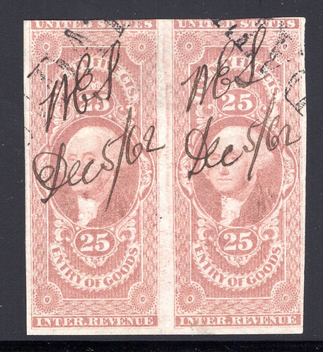 R45a Pair - 25c- Entry of Goods - imperf. - ms cancel, Dec 5/62