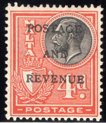 """157 Malta, MLHOG, 4p, 1928, Stamp of 1926-1927 O/P""""POSTAGE AND REVENUE"""" in blac"""