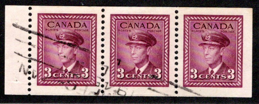 "252b, Scott, 3c , VF, Used,""War"" issue, booklet pane of 3x 3c (Bk 38), Canada"