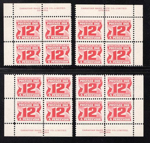 Scott J36, 12c, 2nd issue Centennial Postage Dues, DF, DEX, Matched PB Set, MNH