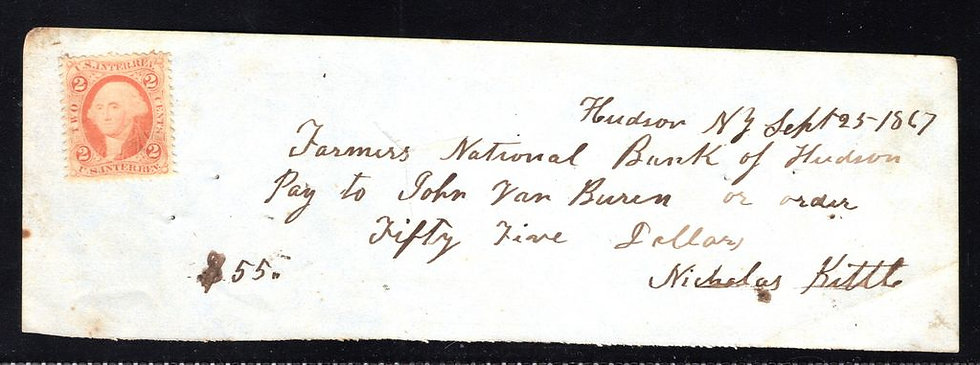 """Interesting hand-written check drawn from the """"Farmer's National Bank"""" in Hudson"""