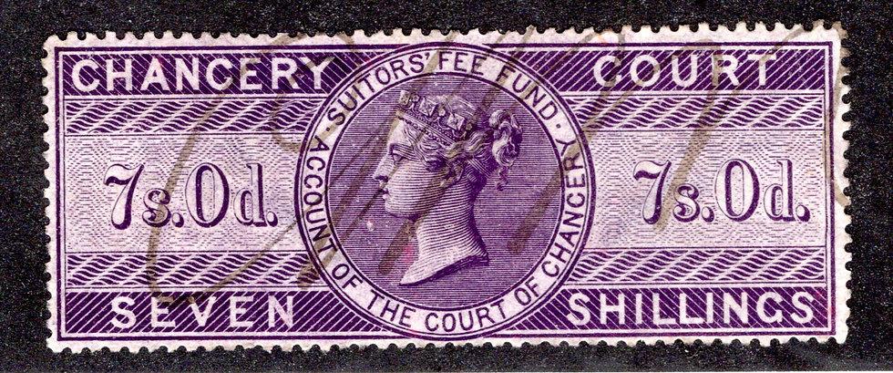 GB - Chancery Court - 7 shillings- Victoria- revenue used