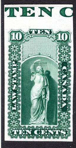 OL2, 10c, Green, Plate Proof,Canada, with margin imprint, scarce, VF