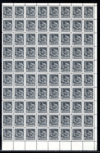 373, Scott, 5c, Canada, Mining, Plate 1, Partial Sheet of 80, VF, Postage Stamps