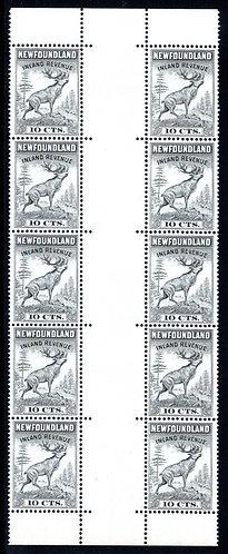 R27e, NSSC, Newfoundland,5 gutter pairs from sheet,perf2 holes into gutter,1964