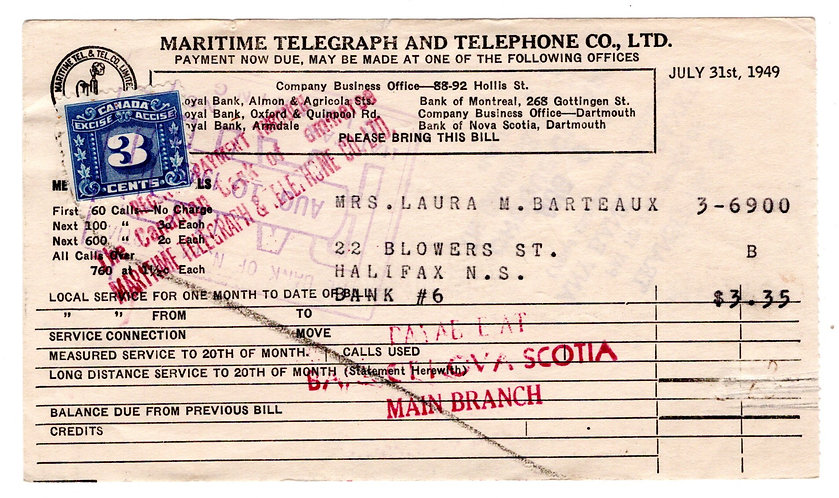 """van Dam FX64, 3c Blue,on Invoice from the """"Maritime Telegraph and Telephone Co."""