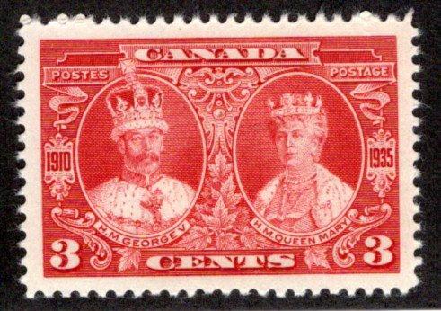"213 Scott, 3c carmine, MNHOG, KGV ""Silver Jubilee"", VF/XF,Canada Postage Stamp"
