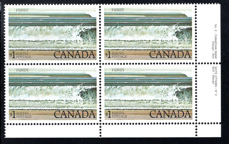 726a Scott - Fundy National Park, $1, Plate 2 (PB2), untagged, corner block of 4