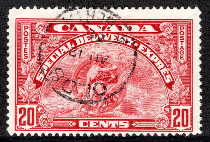 E6 - 20c -Special Delivery - F - Used, Olds, Alberta CDS Cancel
