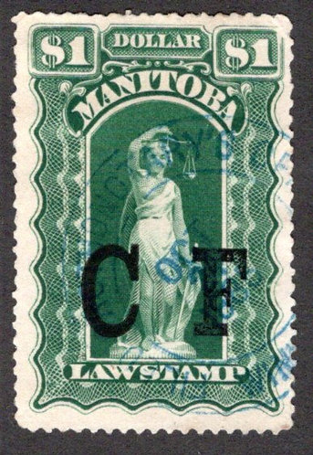 ML55 - Manitoba Law - $1 bue green, used, 1885, Six Scallops, F/VF