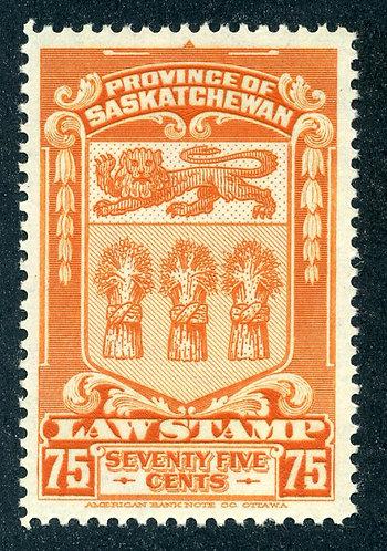 van Dam SL50 - CARIS SKL50 - MNH- 75c - orange - 1938- Saskatchewan Law