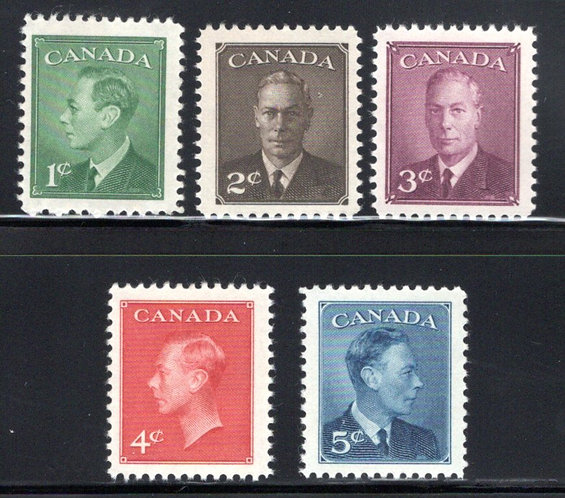 "Scott 284-288, Set, MNHOG, VF, KG VI with ""Posted-Postage"" Omitted, Canada"