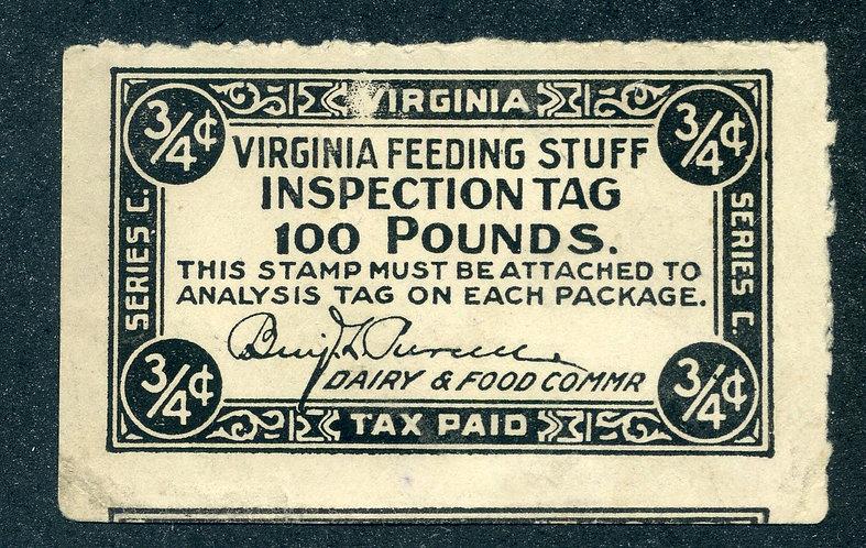 FE16 - Virginia Feed - 1913 3/4c black used, VF