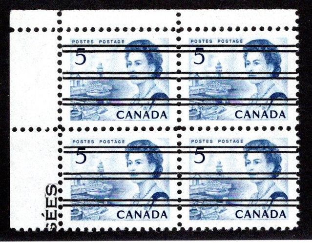458xxi Scott, 5c blue, UL Block of 4, MNH, VF, Centennial Definitives, Canada Po