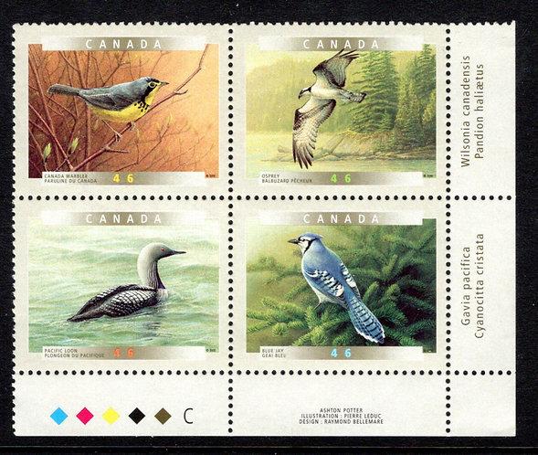 1842a, Scott, Birds of Canada (5b), 46c,MNHOG, Plate Block