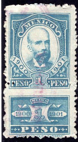 R 195, Mexico, 1900-1901, 1P, Matias Romero, Internal Revenue Stamp, Renta Inte