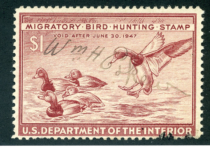 RW13 1946 US Department of the Interior - Redhead Ducks - $1 Used Duck Hunting S