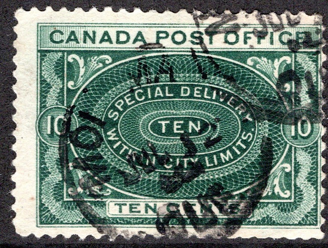 E1 - 10c blue green -Special Delivery - F - Used, Montreal CDS