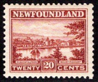 135, NSSC, Newfoundland, 20c, red brown, Placentia, MNHOG, VF, Scott 143