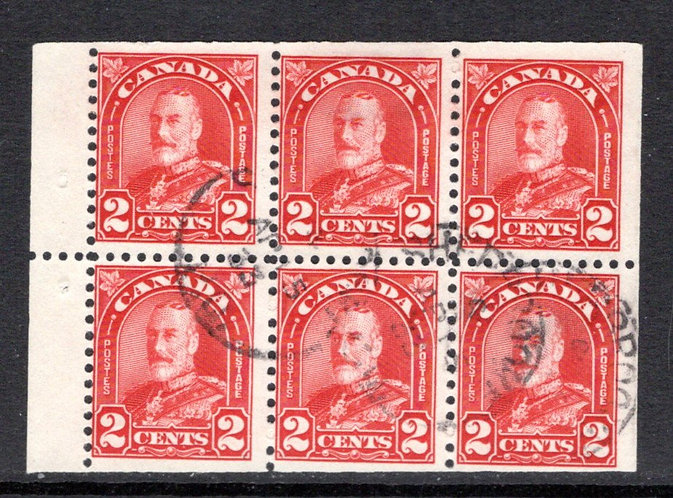 "165b, Scott, 2c deep red, ""Arch"" issue, booklet pane of 6 x 12 (Bkl 16), F, USED"