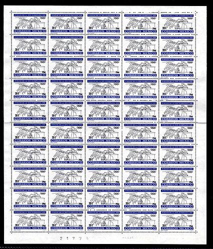 Scott 974, Mexico, Full Sheet of 50, MNHOG, 1966, 20c, Olympics