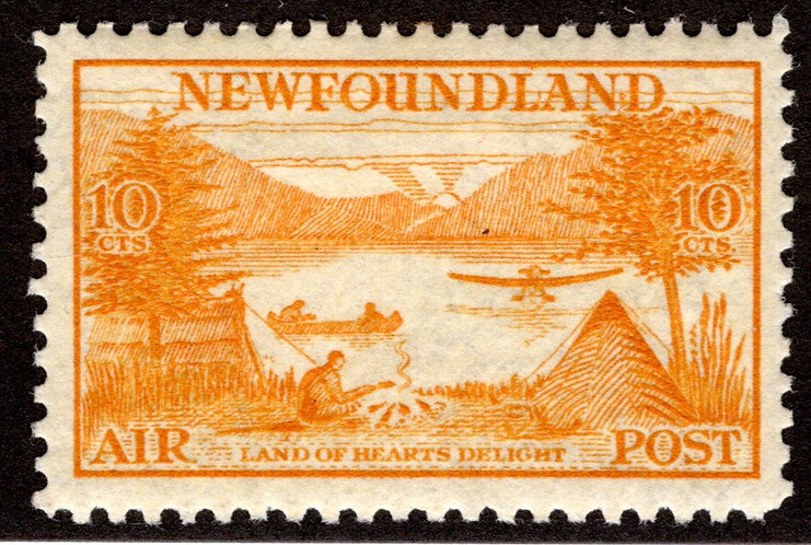 "AM 15, NSSC,Newfoundland Air Mail, 10c yellow, ""Land of Heart's Delight"", MLHOG,"