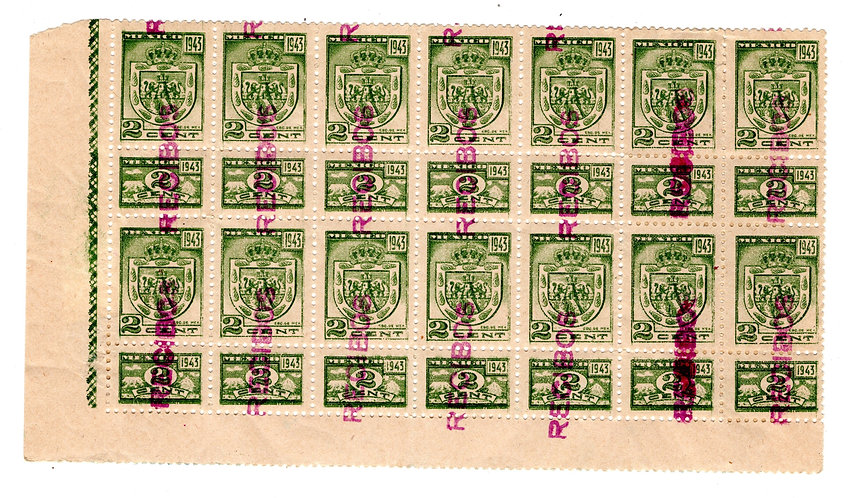 """R 771J, Mexico, 2c, 1943, """"RECIBOS"""" with talons. Some damage to reverse"""