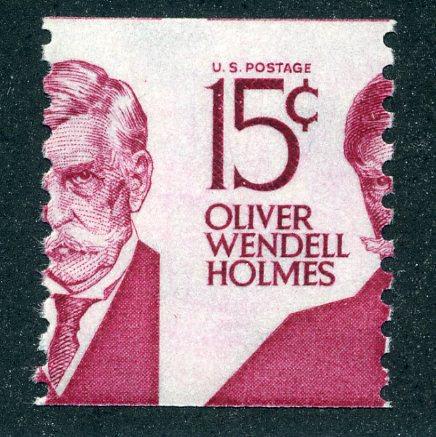 1305E - misperf - 15¢ Oliver Wendell Holmes- MNH type 1, shiny gum - EFO