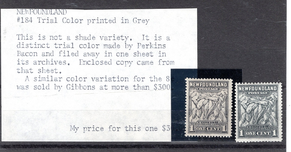 Scott #184, Trial Color printed in Grey, Newfoundland, 1c, gray Codfish, with K.