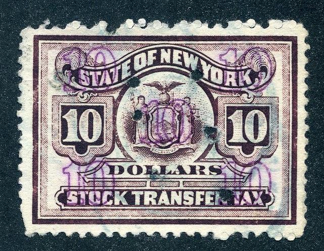 NY ST126 - New York Stock Transfer - $10 - U|sed
